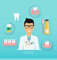 dentist with dental care symbols teeth dental vector image