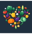 Vegetables Flat Style Icons Set in Heart vector image