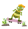 a turtles play skateboarding vector image