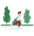 activity sporty person running in park vector image vector image