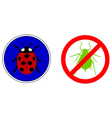 Aphid ladybird traffic signs vector image vector image