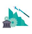 bank growth diagram arrow vector image
