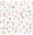 beautiful seamless pattern sweets on gray vector image