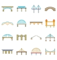 Bridge construction icons set cartoon style