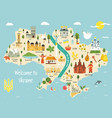 bright map ukraine with landscape symbols vector image vector image
