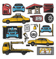 car repair and service station icons vector image vector image