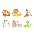 cartoon animals couple dad and baby vector image