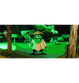 cartoon man in the Vietnamese hat in a park vector image vector image