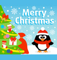 christmas background card with penguin vector image vector image
