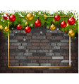 christmas background on brick wall vector image vector image