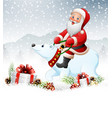 christmas background with santa claus riding polar vector image vector image