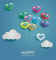 Colorful heart balloons with cloud on the sky for vector image