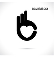 Creative hand and heart shape abstract logo design vector image vector image