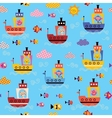 cute animals in boats kids sea pattern vector image vector image
