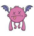 dead purple flying cartoon bat monster