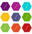dental instrument probe icon set color hexahedron vector image vector image