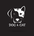 dog and cat face design on a black background pet vector image vector image