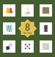 Flat icon games set of pawn chequer chess table