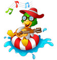 funny duck cartoon enjoying on the lifebuoy with p vector image