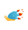 funny fast snail with blue shell and turbo speed vector image