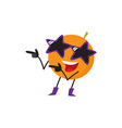 funny orange fruit character having fun at party vector image vector image