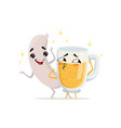 grilled sausage and mug of beer with happy faces vector image vector image