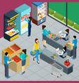 grocery store isometric poster vector image vector image