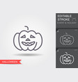 halloween pumpkin line icon with editable stroke vector image