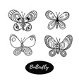 Hand drawn butterfly logo design collection vector image