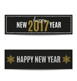 Happy New Year 2017 banners silver text and golden vector image vector image