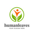 human leaves logo design vector image