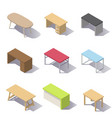 isometric office tables vector image vector image