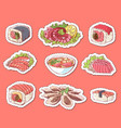 japanese cuisine dishes isolated labels vector image vector image