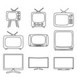 line art black and white 9 element tv set vector image