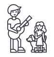man with girl and dogfather with daughter vector image vector image