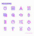 measuring thin line icons set vector image