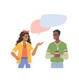 multiethnic people man and woman talking bubbles vector image vector image