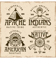 native american indians set four emblems vector image vector image