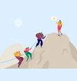 people climb rock mountain to victory flag vector image