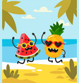 pineapple and watermelon lie on beach vector image vector image