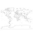 political map of world black outline on vector image vector image
