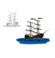 Sailing ship with furled sails on a blue sea vector image vector image