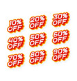 sale percentage set 10 20 30 off and other red vector image