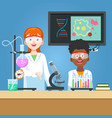 scientist and student in chemistry laboratory vector image vector image