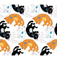 seamless pattern with black white and red cats vector image vector image