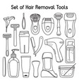 set of hair removal tools and toiletries line art vector image