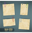set realistic scraps paper with clips vector image vector image
