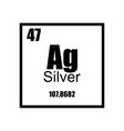 silver periodic table element black on white vector image vector image