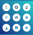 sun icons colored set with mammal lifesaver vector image vector image