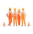 team road builders in orange overalls vector image vector image